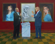 Seeing the bust of the US President Donald Trump (canvas/oil, 100x125-2016 y.) © Nikolai Shmatko